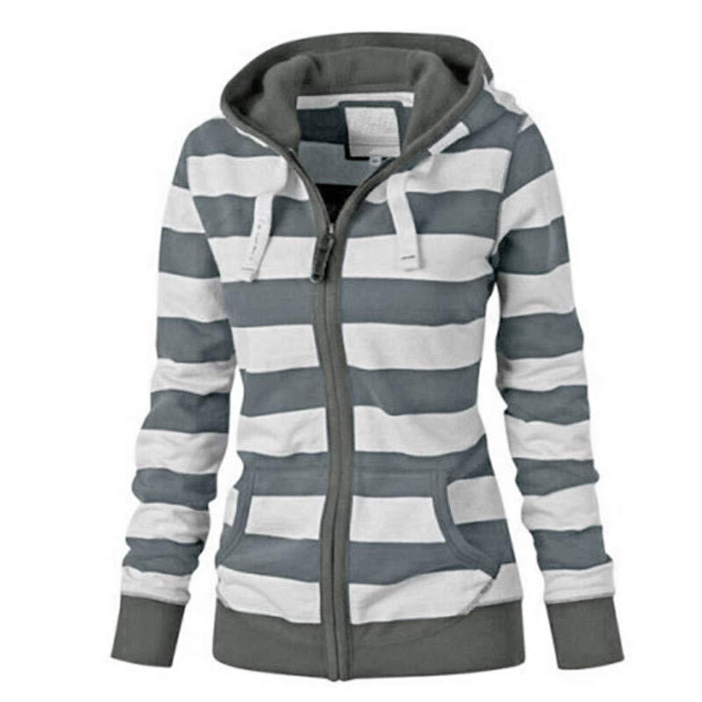 Clearance Women Striped Hooded Sweater, Duseedik Ladies Zipper Tops Hoodie Sweatshirt Coat Jacket Casual Slim Jumper Duseedik -No.9
