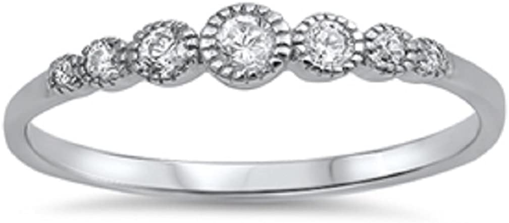 CloseoutWarehouse Cubic Zirconia Seven Round Stones Ring Sterling Silver