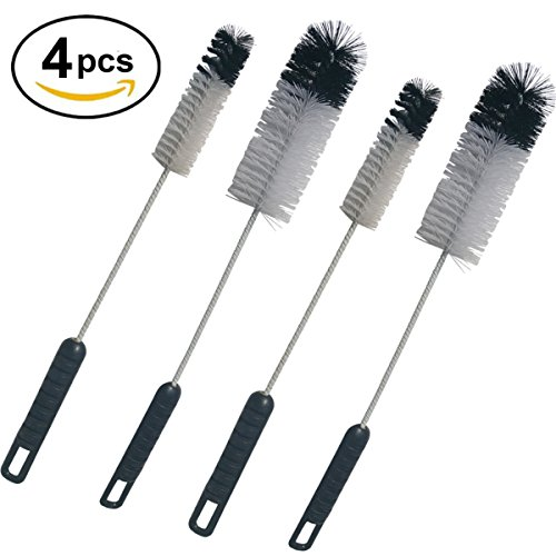 Coralpearl Utility Bottle Cleaning Brush Set Long Handle Thin Small & Big Baby Water Bottle Brush Cleaner Tool Set Value Kit Pack of 4 (Bottle Brushes Small)