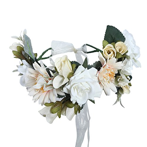 Price comparison product image AWAYTR Bohemia Big Lilies Floral Crown Party Wedding Hair Wreaths Hair Bands Flower Headband (White)