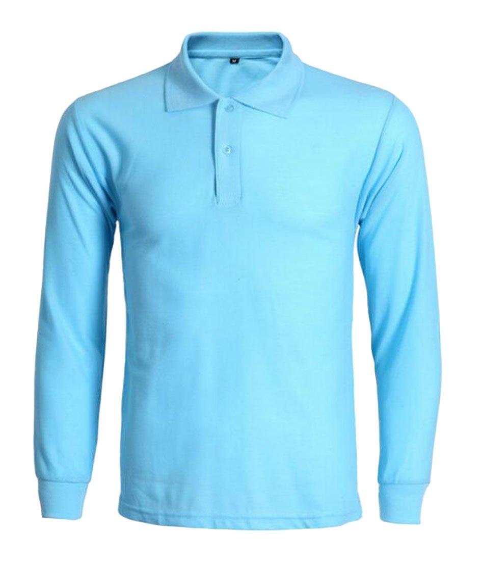 CRYYU-Men Plus Size Button Long-Sleeve Solid Simple Polo T-Shirt Lake Blue US L