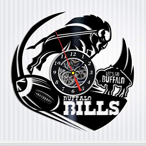 Buffalo Bills Gift for Men American Football Fan Gifts Vinyl Record Wall Clock - Original HANDMADE - Bills Clock Buffalo