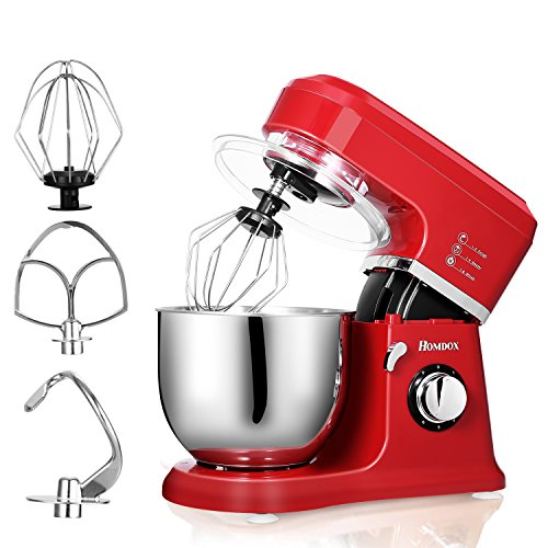 HOMDOX HA5161 Classic Series Stand Mixer, 800W, Food Mixer, Kitchen Electric Mixer with 6-speed control, 5-Quart, Hook, Whisk, Beater, Splash Guard - Empire Red