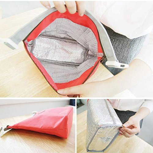 HighlifeS Lunch Bag Waterproof Thermal Fashion Cooler Insulated Lunch Box More Colors Portable Tote Storage Picnic Bags (Red) by HighlifeS (Image #1)