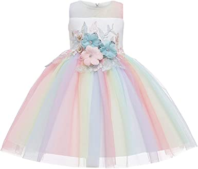 New Girls Flower Party Dresses in 9 Colours From 12-18 Months to 7-8 Years