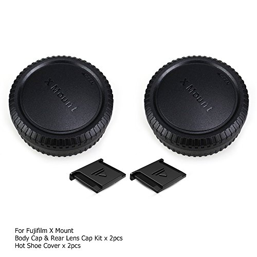 Rear Lens Cap Cover Body Cap Cover Kit with Hot Shoe Cover for Fuji Fujifilm X-T2 X-T3 X-T1 X-T30 X-T20 X-T10 X-H1 X-PRO2 X-PRO1 X-E3 X-A5 X-E2S X-E2 X-E1 X-A3 and More Fuji X Mount Camera and Lens (Best Lens For Fujifilm X T1)