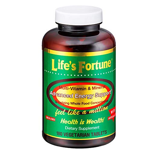 Life's Fortune Multivitamin & Mineral 180 Tablets, All Natural Energy Source Supplying Whole Food Concentrates, Antioxidants, Amino Acids, Enzymes, Trace Minerals & All Daily Essential Vitamins (Best Multivitamin And Mineral)