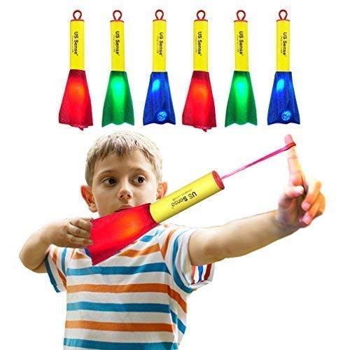 US Sense Boys Toys 6 Pack LED Foam Finger Rockets Slingshot Rocket Copters-Fun Shooting Games for Home Office Camping Party Favors ()