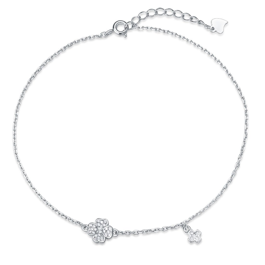Agvana Sterling Silver Cubic Zirconia CZ Cross Four Leaf Clover Beach Anklet Bracelet for Women Girls 8.7''+1.2''