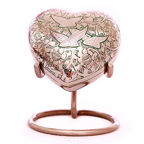 Green Heart Keepsake Urn - Wings of Freedom Mini Dove Urn for Human Ashes - Free Premium Velvet Box & Display Stand - Handcrafted Heart-Shaped Small Cremation Urn - Perfect for Adults & Infants