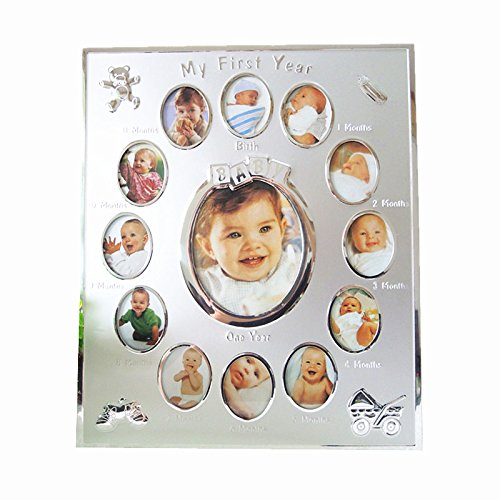 First Color Photo (MY FIRST YEAR Baby 12 month Picture Frame Photo Moments Color Silver)