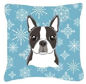 Copo de nieve Boston Terrier tela almohada decorativa BB1637PW1414