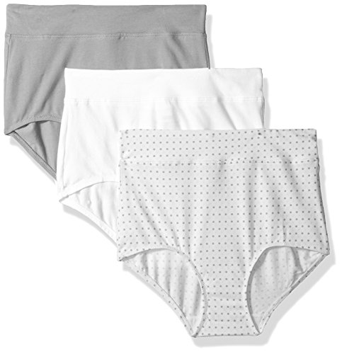 Warner's Women's Blissful Benefits No Muffin Top 3 Pack Brief Panty, White/Toasted Almond/Body Tone Polka Dot Print, 2XL - Multi Polka Dot Print