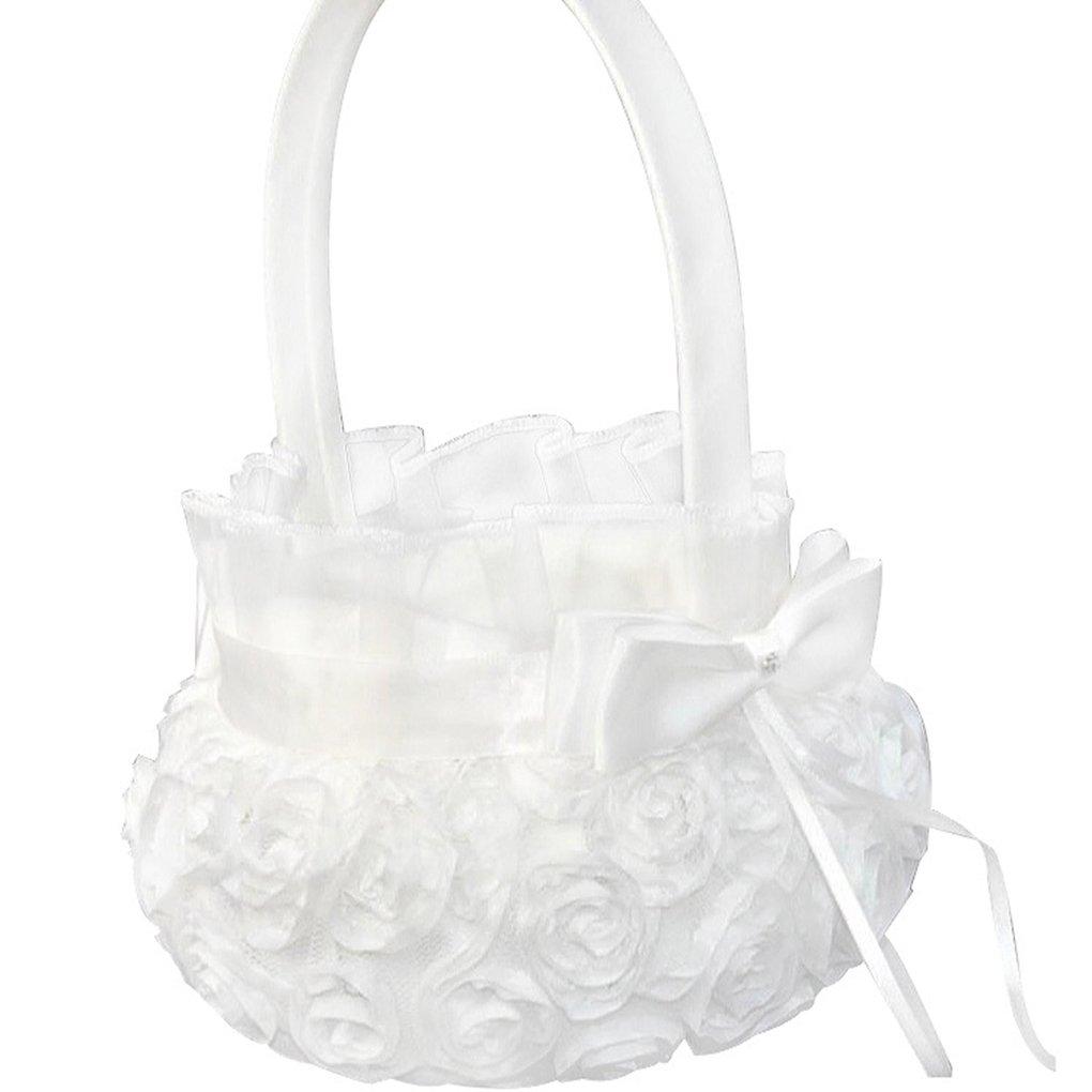 M-Egal Pure White Romantic Rosette Wedding Flower Basket Flower Girl Basket for Wedding
