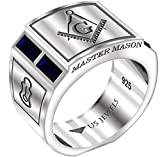 US Jewels And Gems Men's Blue Lodge 0.925 Sterling Silver Simulated Sapphire Freemason Masonic Ring, Size 10