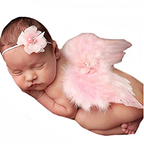 Baby Girls Angel Wings Wing Set Feather Newborn Photography Props - - 9