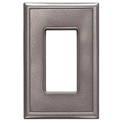 Single Decorator GFCI Switch Plates Questech Screwless Wall Plate Covers | No Visible Screws (Brushed Nickel)