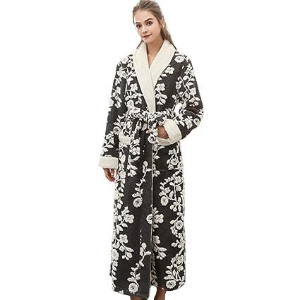 HGDR Albornoz De Mujer con Estampado De Flores Bata De Abrigo De Invierno con Cuerpo Completo