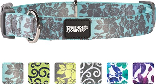 Friends Forever Dog Collar for Dogs, Fashion Floral Pattern Cute Puppy Collar, Blue/Grey Medium 14-20""