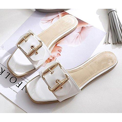 Verano Sandalias Pantuflas de mujer Zapatillas en forma de H femeninas de verano planas con los zapatos planos de playa Charol de verano sandalias casuales de moda Color / tamaño opcional ( Color : Bl Blanco