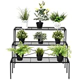 New Black 3 Tier Shelf Flower Plant Display Stand Rack Large Modern Metal Heavy Duty