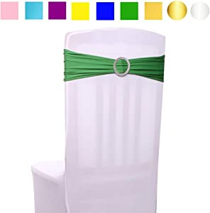 Ymeibe 30pcs Green Chair Sashes Bows Spandex Elastic Wedding Chair Bands with Buckle Chair Ribbon Ties for Party Events Supplies Baby Shower Birthday Banquet Decoration