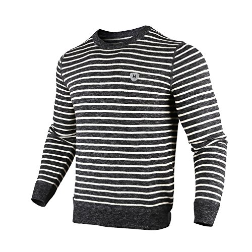 Ribbed Stripe Wool Blend Crew Neck Sweater Knit Pullover(S) (Knit Wool Blend Sweater)