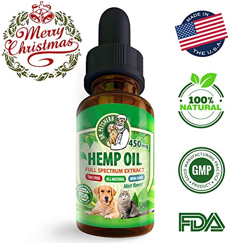 Hemp Oil for Dogs Cats, Organic 450mg Oil Extract for Anxiety Hip Joint Pain Relief, Omega Treats for Dog or Cat Calm, Natural Pets Arthritis Pain Relief - Grown & Made in US