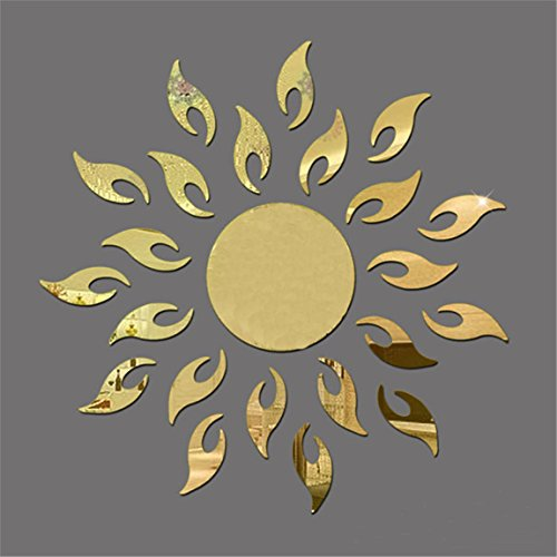 TIFENNY Luxury 3D Sunflower Home Decor Bell Cool Mirrors Wall Stickers Gold 3D Mirror Wall Stickers Living Room Entrance Bedroom TV Wall Decals Marriage Room Decorated