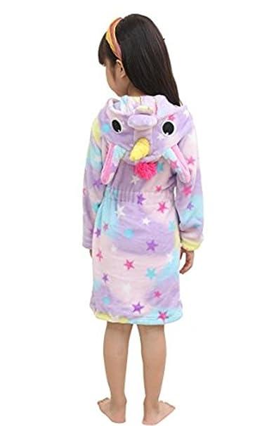YOGLY Niños Unicornio Bata de Baño Franela Encapuchado Pijama Unicornio Disfraces Animales Camisón Albornoz: Amazon.es: Ropa y accesorios