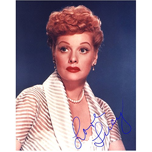 Lucille Ball 8 x 10 photo I Love Lucy The Lucy Show Here's Lucy Diagonal White Stripes Pre Print Signed LOVE LUCY kn