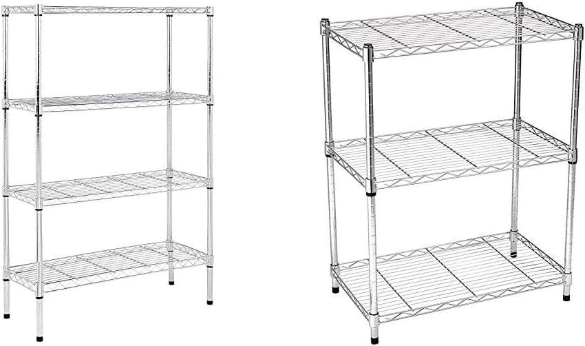 AmazonBasics 4-Shelf Adjustable, Heavy Duty Storage Shelving Unit (350 lbs), Chrome (36L x 14W x 54H) & 3-Shelf Adjustable, Heavy Duty Storage Shelving Unit (250 lbs),Chrome (23.3L x 13.4W x 30H)