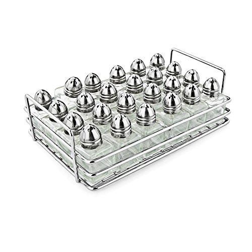 (New Star Foodservice 28423 Mini Salt and Pepper Shakers with Rack, Set of 24)