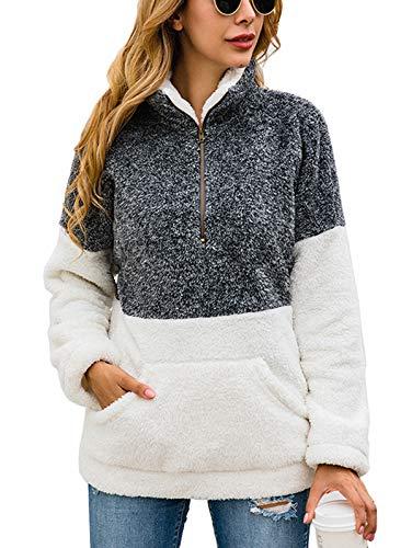 TEMOFON Women's Long Sleeve Zipper Fleece Jacket Sherpa Pullover Winter Outwear Sweatshirt Coatwith Pockets Grey S