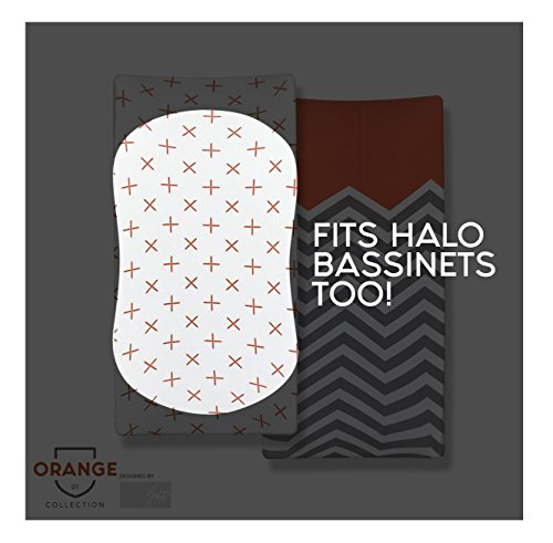 """(Organic Cotton Changing Pad Covers: Baby Sheets Set (2 Pack) Fits Changing Pads, Bassinet, and Halo Soft Comfortable Unisex for Infants and Toddlers 16""""x32""""x5""""! (Orange Collection))"""