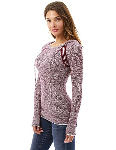 PattyBoutik Women's Marled Raglan Hoodie Sweater (Burgundy and White M)