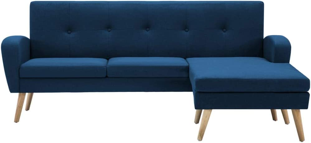 vidaXL Canap/é dangle Rev/êtement en Tissu Bleu Salle de S/éjour Sofa de Salon