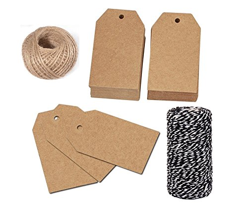 OxoxO 100PCS Kraft Tags Blank Label Paper Wedding Labels Gift Tags clothing Hang Tags with Jute Twine And Cotton Rope(White + Black) by OxoxO (Image #5)
