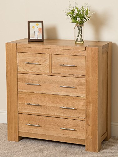 Kuba Hand Crafted Solid Oak 2+3 Chest of Drawers Bedroom Furniture (94 x 45 x 98 cm)
