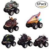 Pull Back Dinosaur Cars, Pawaca Dino Cars Toys with Big Tire Wheel for 3-14 Year Old Boys Girls Creative Gifts for Kids (6 Pack)