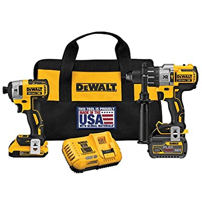 DEWALT DCK299D1T1 FLEXVOLT 60V MAX / 20V MAX Lithium-Ion XR Brushless Hammerdrill and Impact Combo Kit