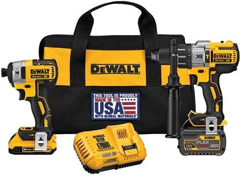 DEWALT DCK299D1T1 20V MAX* FLEXVOLT Brushless premium hammer drill and impact Combo Kit