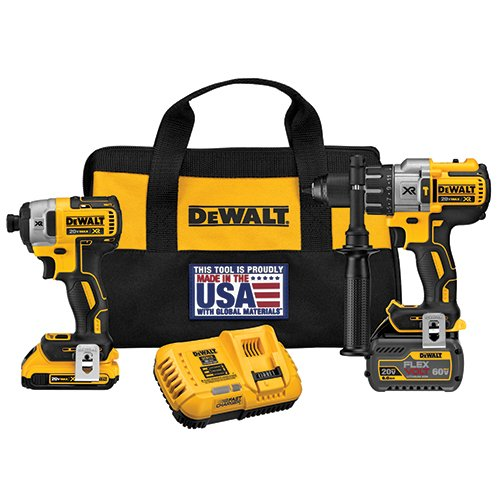 DEWALT DCK299D1T1 FLEXVOLT 60V MAX / 20V MAX Lithium-Ion XR Brushless Hammerdrill and Impact Combo -