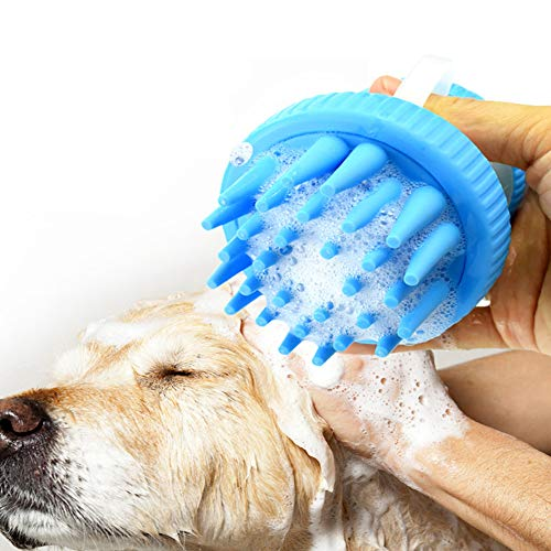 Pet Bath Brush Dog Cleaning Beauty Tools Massage with Handle Gentle Silicone Massage Shampoo Grooming Brush Self-Cleaning Shedding Massage Upgraded for Dogs and Cats