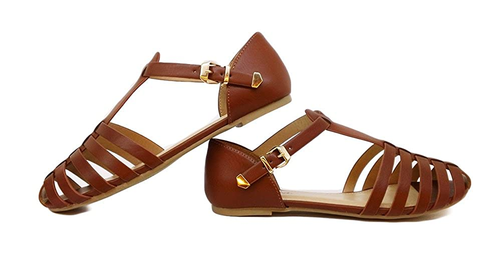 Vintage Style Shoes, Vintage Inspired Shoes Paprika Women Leatherette Almond Toe T-Strap Fisherman Flat Sandal $29.99 AT vintagedancer.com