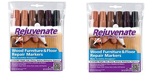 Rejuvenate Wood Furniture & Floor Repair Markers Make Scratches Disappear in Any Color Wood - 6 Colors; Maple, Oak, Cherry, Walnut, Mahogany, Espresso (2 pack) by Rejuvenate (Image #1)