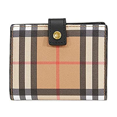 Burberry Small Vintage Check and Leather Folding Wallet- Black