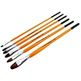 DealMux Nylon Hair Wooden Handle,Artist Watercolor Face Acrylic Painting,Flat Tipped Brush,Paintbrushes,Set,Orange