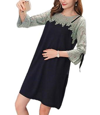 Umstandskleid Schwangere Spitzennähte lange Kleider stillen Kleid ...