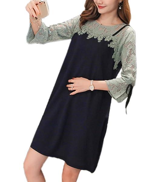 Vestido de maternidad embarazada encaje costura vestidos largos vestido de lactancia para mujeres